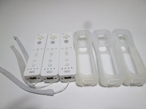 RSJ013《即日発送 送料無料 動作確認済》Wii リモコン ストラップ ジャケット カバー 白 3個セット 任天堂 純正 RVL-003 コントローラ