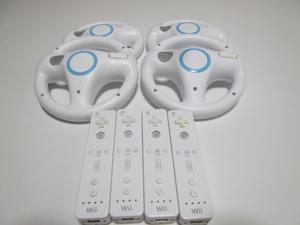 HRS008《送料無料 即日発送 動作確認済》Wii リモコン ハンドル 4個セット 任天堂 純正 RVL-003 コントローラ