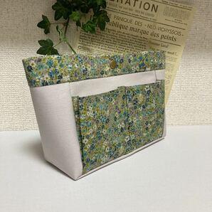 ◆バッグインバッグ◆リバティ風小花&ライトグレーの帆布◆ハンドメイド