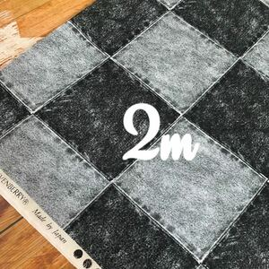 SALE ヴィンテージ風 デニム調パッチ ブラックデニム シーチングコットン 2m