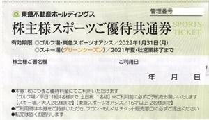 送料無料 最新 東急不動産 株主優待 4枚 スポーツオアシス スポーツご優待共通券 4枚セット 2022-1-31