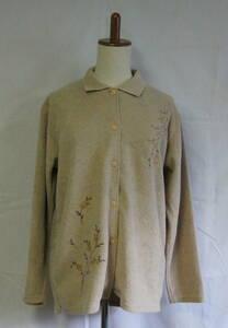 Kosugi 衿付き セーター トレーナー カーディガン トップス ベージュ Lサイズ ポロシャツ 花柄 植物柄