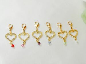 Please choose your favorite color Gold heart type charm ☆ Mask charm ♪ fastener charm handmade ♪ Accessories