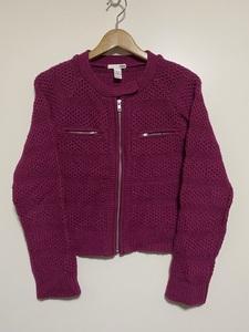 ▼ H&M ノーカラー ニットジャケット アクリル ウール混紡 US Sサイズ 紫 ピンク パープル フルジップ ジップアップ カーディガン
