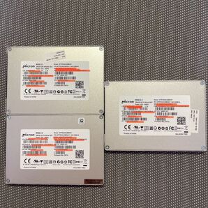 Micron SSD 2.5インチSATA 256GB/3枚セット使用時間4415h,7542h,6172h