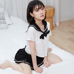 超セクシー 可愛くて シフォン セーラー風 学生服 トップス&ミニスカート コスプレ コスチューム RT129/ブラック