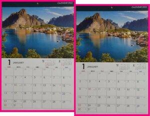 【送料無料:2冊:カレンダー 2022:世界の風景】★大自然の「世界の風景」★A3:42x30cm:壁掛け 2022年