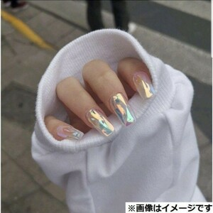 ネイルチップ シンプル オーロラ ホワイト 付け爪