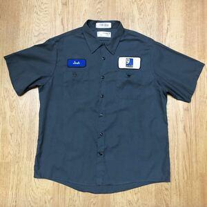 aramark/ワークシャツ 半袖シャツ トップス 二つポケット 前開き ワッペン goodwill 企業系 グレー アメカジ USA古着 メンズ 1XLR