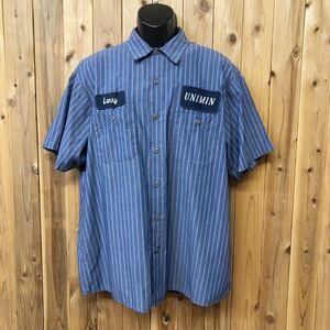 CiNTAS◇ワークシャツ 半袖シャツ トップス ストライプ柄 二つポケット ワッペン 企業 アメカジ USA古着 メンズ XL