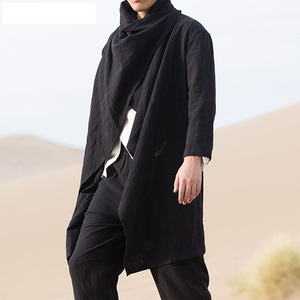 【激安】メンズ レトロ ジャケット コート ソリッドスカーフ カラー カジュアル 不規則 トレンチ 長袖 マント コットン スタイリッシュ