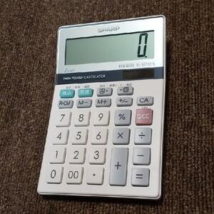 未使用品 シャープ 実務電卓 ナイスサイズタイプ EL-M710-S 動作確認後 バッテリー内蔵