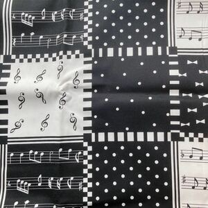 生地 カットクロス 入学準備 入園 布 リボン 女の子 モノトーン 音符 ピアノ