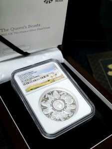 【初日ラベル 最高鑑定】イギリス クイーンズビースト 2021年 2オンス 5ポンド 大型銀貨 PF70 超レア COA BOX 解説書 元箱 コンプリーター