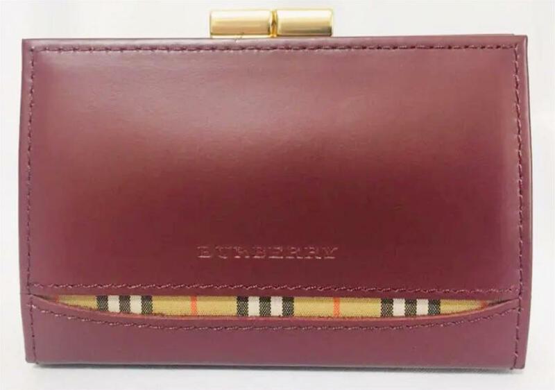 ほぼ新品 即日発送 バーバリー BURBERRY ノバチェック 財布 がま口 コインケース 赤 レ ッド チェック 金 ゴールド レディース 女性