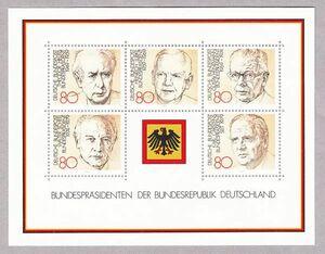 西ドイツ 1982年未使用NH 民主主義/基本法/著名人/歴代連邦大統領#1156-1160/シート#18