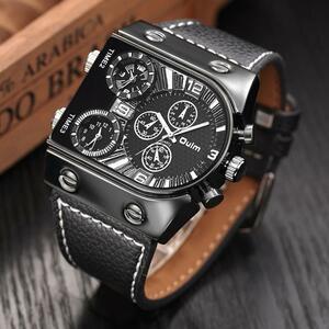 Oulm メンズ腕時計メンズクォーツカジュアルレザーストラップ腕時計スポーツ男マルチタイムゾーン軍事男性腕時計時計 relogios