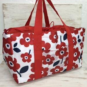 保冷バッグ エコバッグ レジバッグ 買い物バッグ ショッピングバッグ レジャーバッグ 保冷 保温 レディース 新品 フラワーレッド