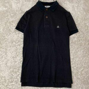 希少 ヴィヴィアンウエストウッドマン Vivienne Westwood MAN オーブ刺繍 ポロシャツ 黒 k-0191