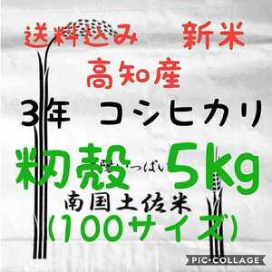 送料込み 令和3年産 高知県産 新米 コシヒカリ 籾殻 5㎏(袋込み)