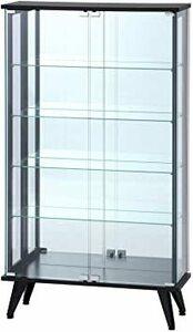 ブラック 高さ134cm 不二貿易 コレクションケース フィギュアケース 5段 高さ134cm ブラック 背面ミラー 強化ガラス