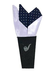 新品未使用 日本製 形態安定ポケットチーフ シルク サテンパープル×ネイビードット KK011