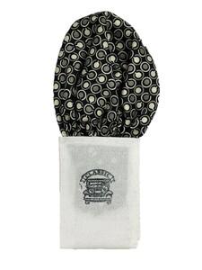 新品未使用 日本製 形態安定ポケットチーフ シルク ブラック×幾何学 N107