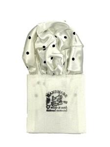新品未使用 日本製 形態安定ポケットチーフ シルク サテンホワイト×ブラック水玉 N211