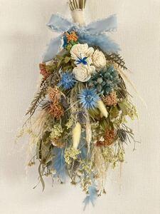 Handmade◆ドライフラワー◆スワッグ◆壁飾り◆パンパスグラス◆ミズイロ*botanical swag◆51㎝***