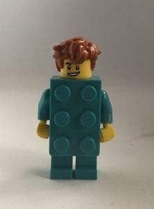 即決 未使用 レゴ LEGO ミニフィグ シティ ミニフィギュア  ブロックスーツの男の子 新色 ターコイズブルー くしゃくしゃヘアー
