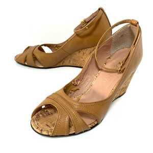 【DIANA】ダイアナ パンプス 日本製 ブラウン オープントゥ ウェッジ ソール ヒール アンクルストラップ 靴 レディース24.0cm /324gi