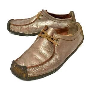【Clarks Originals】クラークス オリジナルズ ワラビー ローカット シューズ 靴 シャイニーブラウン 光沢 レディース サイズ5 1/2 /470gg