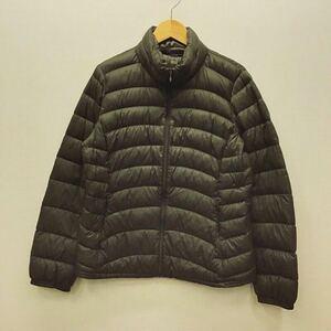 【ナ015】UNIQLO ウルトラライトダウンジャケット XLサイズ カーキ 長袖 軽量 スタンドカラー レディースブランド古着 ユニクロ 送料無料