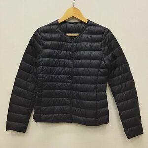 【ナ055】UNIQLO ウルトラライトダウンジャケット ブラック 長袖 2wayネック 黒色 軽量ダウン ブランド古着 ユニクロ 送料無料
