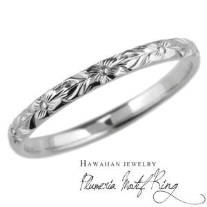 メンズ リング ハワイアン ハワイアンジュエリー 指輪 プルメリア 花 プラチナ900 手彫り ハンドメイド
