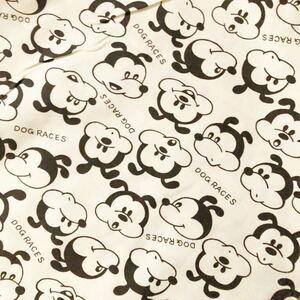 昭和レトロ 生地 84×50cm イヌ 犬 DOGRACES イラスト柄 オフホワイト デッドストック コットン生地 手芸 ハンドメイド ファンシー
