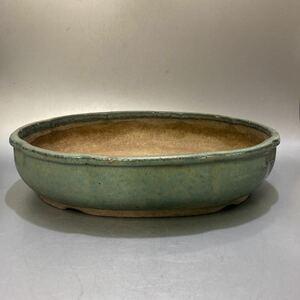 硝5) 古盆器 植木鉢 青釉木瓜盆栽鉢 樹鉢 和鉢 時代 古玩