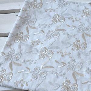 薔薇柄刺繍 コットンレース生地 刺繍レース 綿レース 国産刺繍 刺繍生地 ハギレ