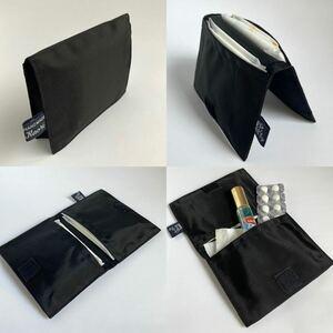 サニタリーポーチ サニタリーケース ナプキンポーチ ナプキン入れ ミニポーチ 薄型 フラット 二つ折り 黒 ブラック ハンドメイド