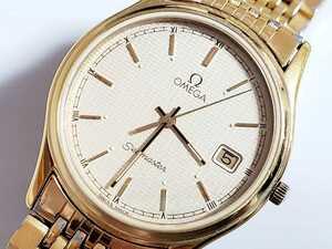 OMEGA オメガ Seamaster シーマスター 紳士用高級腕時計 純正ブレス ゴールドカラー 稼働品