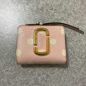 マークジェイコブス 二つ折り財布 ドット ピンク