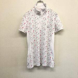 (A71) Disney ディズニー ミッキー柄 水玉 ドライ半袖ポロシャツ ハーフジップシャツ LLサイズ レディース