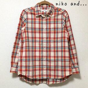 niko and… ニコアンド レディース チェックシャツ ネルシャツ シャツ 長袖 Lサイズ チェック柄 赤