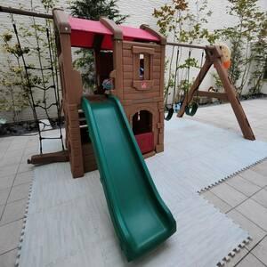 【引取り限定】[STEP2] 大型遊具 すべり台 ブランコ プレイハウス 隠れ家「Naturally Playful Adventure Lodge Play Center」【中古品】