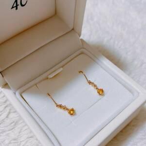 正規品 4℃ ヨンドシー ピアス ダイヤモンド シトリン k10 イエローゴールド ケース紙袋 箱 ゴールド ダイヤ 誕生日 クリスマス プレゼント