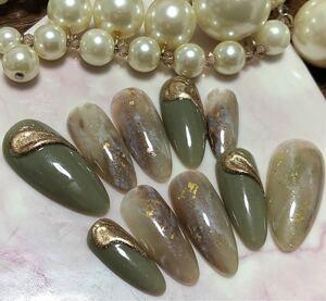 オーダー用 ネイルチップ ジェルネイル 付け爪 秋色天然石