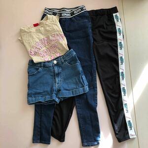 レピピアルマリオのレギンスパンツ、ジーンズ、 ショートパンツ、Tシャツの4点です。サイズはXS。140くらい。バッグ付きです。