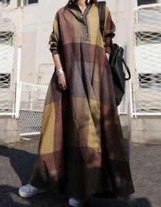 チェックがかわいい★新品☆大きいサイズ☆薄手のコットンマキシ丈長袖ワンピスカートぷっくり