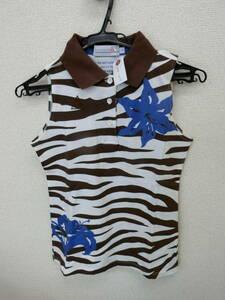 【美品】le coq sportif(ルコックスポルティフ) ベストポロシャツ 茶&白 レディース M ゴルフウェア 2004-0679 中古