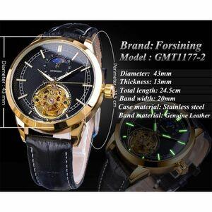【一点のみ】メンズ高級腕時計 43mm 機械式 自動巻き トゥールビヨン サン&ムーン表示 本革ベルト 紳士ウォッチ カジュアル